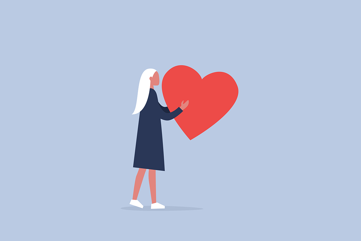 illustration of woman carrying heart