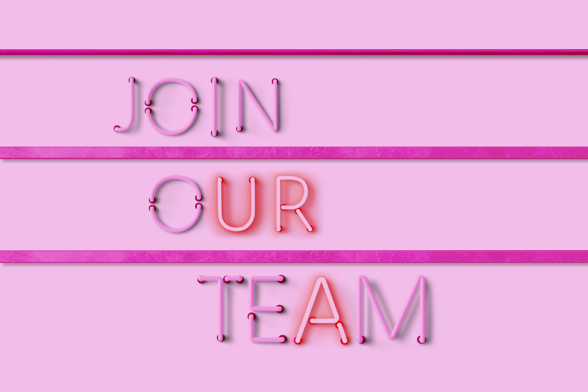 join our team in neon text