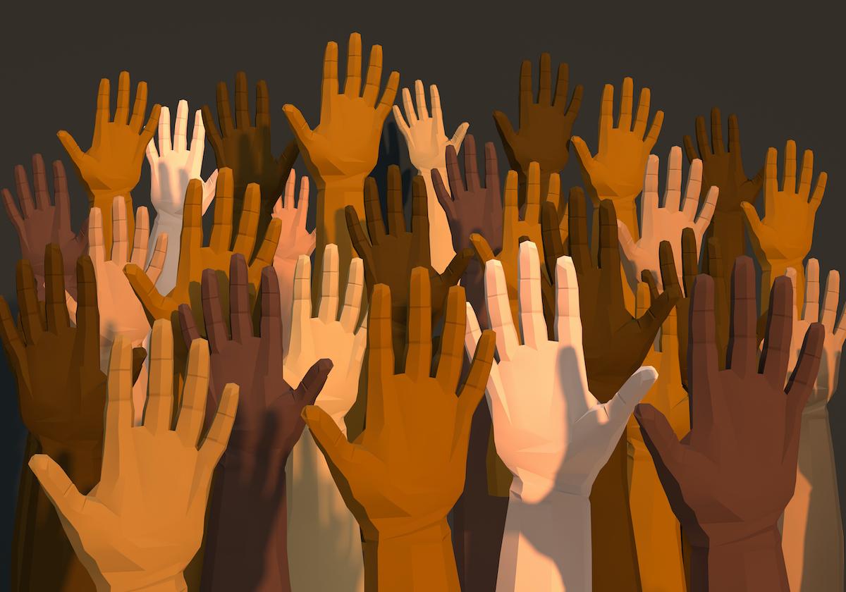 hands of various skin tones